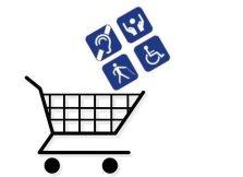 Pictogramas de diversas deficiências sendo depositados em carro de compras.